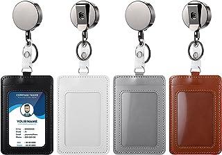4 Pièces Portefeuille Porte-Badge en Cuir Rétractable en Métal avec Ceinture Porte-Clés Clip, Porte-Badge en Cuir PU pour ...