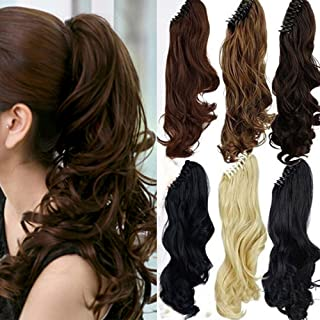 Claw Ponytail Extension Short Curly Wave 145G Thick Jaw Ponytails Pony Tail Hairpiece Clip in Hair Extensions Real Natural as Human Synthetic Fibre for Women 18 inch dark brown