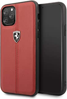 غطاء جلدي قاسي بتصميم مخطط لجهاز ايفون 11 برو من فيراري - احمر