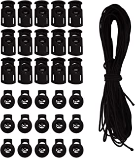 Warmsky 30 PCS Cord Locks kit Spring Toggle Stopper + 16 Yards Length 1/8 Inch Cord Stretch String for Drawstring, Shoelaces, Clothing, Backpack, Bags