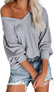 Byinns Waffle Knit Top with Long Sleeve Batwing Drop Shoulder V-Neck Pullover Sweater Loose Casual Blouse Shirts