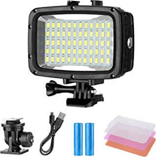 Neewer Underwater Lights Dive Light 60 LED Dimmable Waterproof LED Video Light 131feet/40m for GoPro Hero 6 5 4 Hero Sessi...