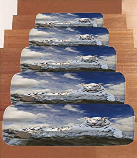 Tiger Coral Fleece Stair Treads,Stair Tread Mats,Bengal Hunter Surveying What is Beneath It from Top White Large Feline Decorative,(Set of 5) 8.6