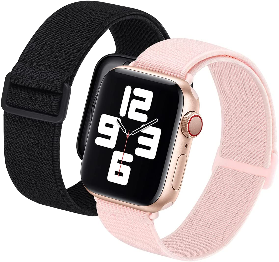 2 Pack Sport Elastic Nylon Compatible with Apple Watch Bands 40mm 38mm, Adjustable Lightweight & Breathable Woven Stretches Strap for iWatch Series 6/5/4/3/2/1/SE Men Women Black/Pink Sand
