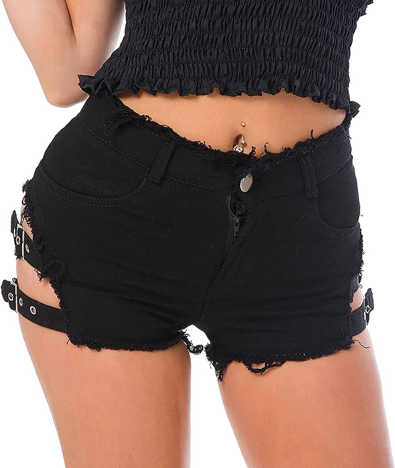 UBST Shorts for Women, Women's Destroyed Ripped Hole Denim Shorts Sexy Short Jeans Side Straps Mini Hot Pants Clubwear