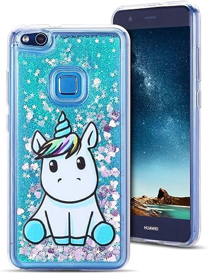 MoEvn Cover Huawei P10 Lite Custodia, Unicorno 3D Glitter Liquido Trasparente Sabbie Mobili Morbida TPU Silicone Sparkle Quicksand Antiurto Protezione ...