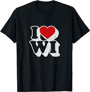 I Heart Love WI Wisconsin T-shirt Souvenir Shirt Gift