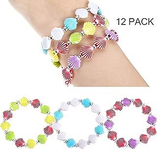 meekoo 12 Pieces Faux Seashell Stretch Bracelets Novelty and Mermaid Fashion Bracelets for Little Girls