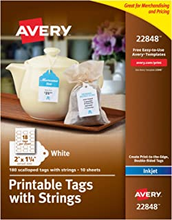 Avery Scalloped Printable Tags for Inkjet Printers Only, Tags With Strings, 2