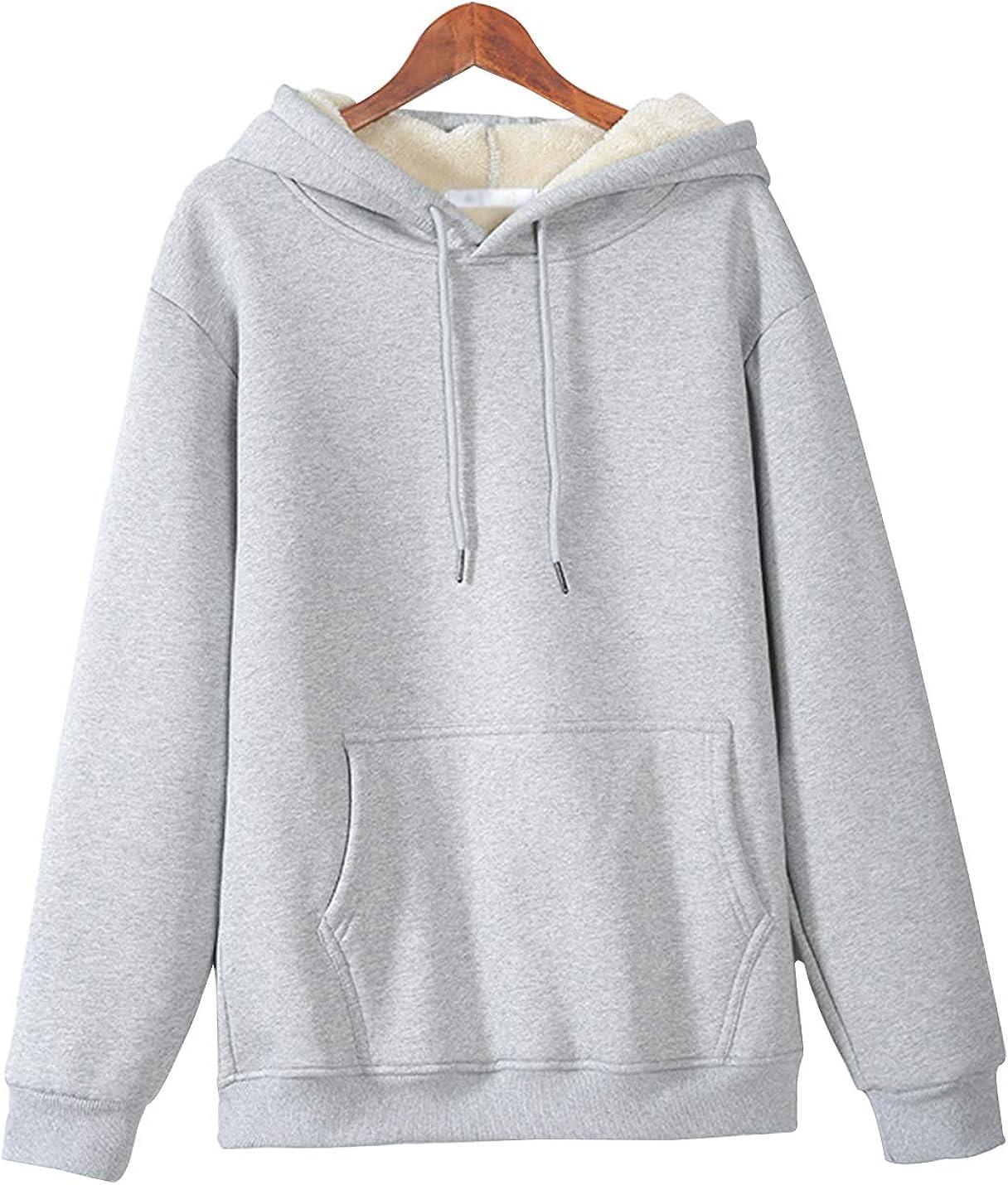 Gihuo Women's Winter Sherpa Lined Pullover Hooded Sweatshirt Hoodie