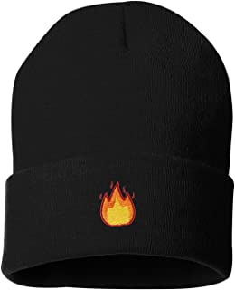 Adult Fire Embroidered Cuffed Knit Beanie Cap