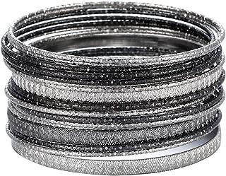 Multiple Textured Metal Bracelets & Bangles Set for Women 18Pcs/Set