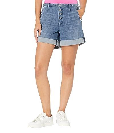 NYDJ Petite Petite Higher Rise A-Line Denim Shorts in Horizon