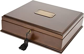 Large Romeo Memory Box Organizer Mahogany Wood Finish for Photo Album CD DVD USB & other Valuables