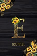 E Journal: Sunflower Journal, Monogram Letter E Blank Lined Diary with Interior Pages Decorated With More Sunflowers.