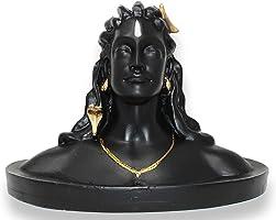 JH Gallery Polyrasin Lord Adiyogi Shiva Statue, Mahadev Murti Home/Office Decor and Car Dash Board (Matte Black,...