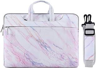 MOSISO Laptop Hülle Tasche Kompatibel mit 15 Zoll MacBook Pro mit Touch Bar A1990/A1707 2019 2018 2017 2016, 14 Zoll ThinkPad Chromebook,Segeltuch Marmor Mustert Tragetasche Aktentasche, Rosa