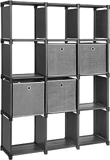 SONGMICS LSN34BK Étagère à Chaussures avec 4 boîtes en Tissu 12 Cubes Système de Rangement Multifonctionnel Étagère à Chau...