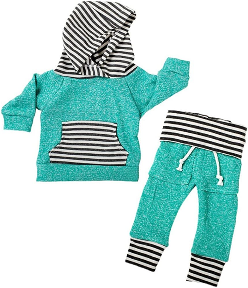 Honey$Homey Toddler Baby Boys Girls' Long Sleeve Hoodie Tops Sweatsuit Pants Outfit Set