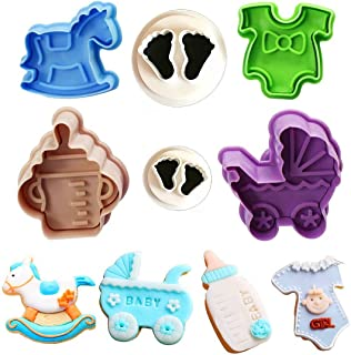 Baby Shower Theme Cookie Cutter Set,Baby Feet, Baby Bottles,Baby Clothes,Strollers,Trojans Biscuit Pastry Mould,Cake Topper Decorating Gumpaste Fondant Mould -Set of 6