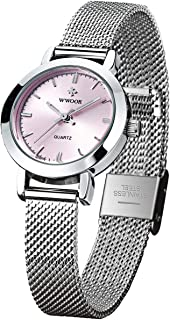 Women's Watch Original Fashion Analog Quartz Watches with Stainless Steel Mesh Band Waterproof Wristwatch Casual Watch Ladies (Rose Gold & Pink & White & Gold)