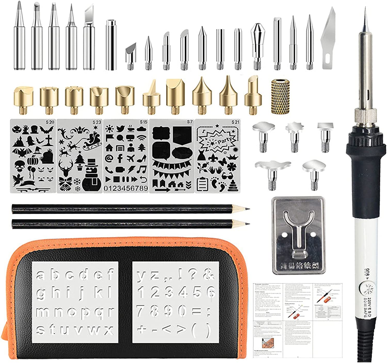 UELEGANS Choice Japan Maker New 42Pcs Wood Burning Pyrography Kit Pen 60W Adjustable