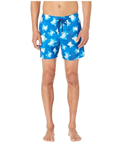 Vilebrequin Mahina Crystal Turtles Light Fabric Swim Trunks (Blue) Men