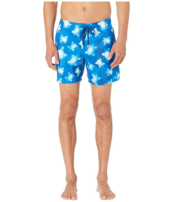 Vilebrequin Mahina Crystal Turtles Light Fabric Swim Trunks (Blue) Men