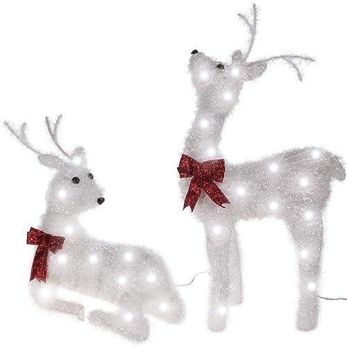 TecTake LED Iluminación navideña de exterior 2 renos con corbata laza decoración jardín