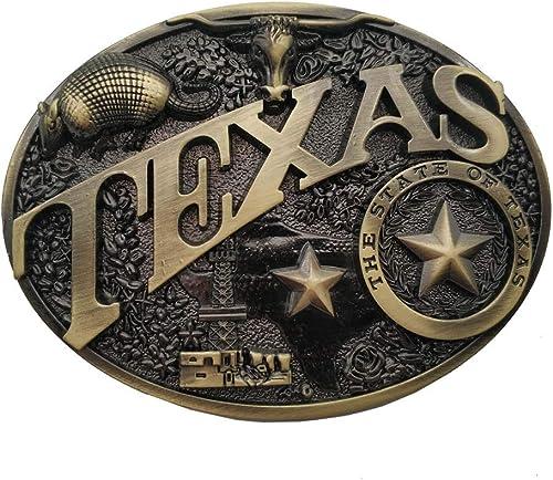 Modern Texas Cowboy Belt Buckle Brass Heritage Longhorn Star Buckles