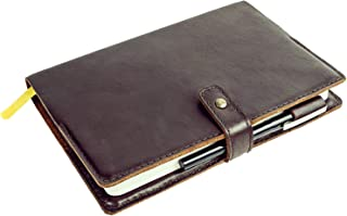 """Leather Journal Cover - BestSelf Co. Self Journal Shield (8. 25"""" x 5.5"""") - Premium Fine-Grain Leather - Supple Texture Looks - Ages Beautifully - Durable - Two Naturally Appealing Colors"""