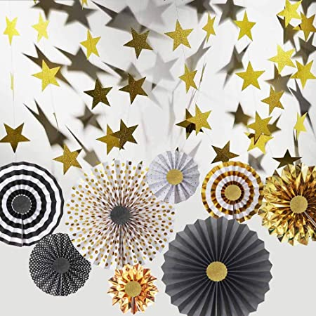 Hola Fiesta Black Gold Paper Fans Flower and 2 Black-Gold-Silver 7cm Stars Decorations for Celebration Wedding Carnival Happy Birthday Welcome Party,Gold Black Silver