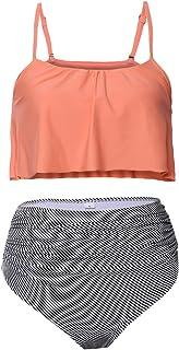 Sidefeel Women Two Piece Swimsuit Ruffle Bikini Top Striped Bottom High Waist Swimwear