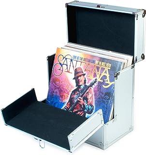 Retro Musique - Caja de almacenamiento para discos de vinilo de 12 pulgadas con solapa frontal plegable para un mejor acceso a tus LPs, rosa dorado … (Silver)