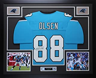 Greg Olsen Autographed Blue Panthers Jersey - Beautifully Matted and Framed - Hand Signed By Greg Olsen and Certified Authentic by Auto JSA COA - Includes Certificate of Authenticity