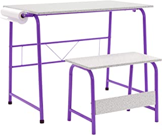 SD Studio Designs Project Center, 55127 Craft Table Play Desk with Bench, Purple/Spatter Gray