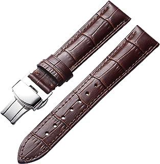Acheter 20mm 21mm Bracelet Fait Main Bracelet En Alligator Bracelet En Cuir Courbé Fin Spécial Accessoires Noir Brun Pour La Marque Montres Hommes De