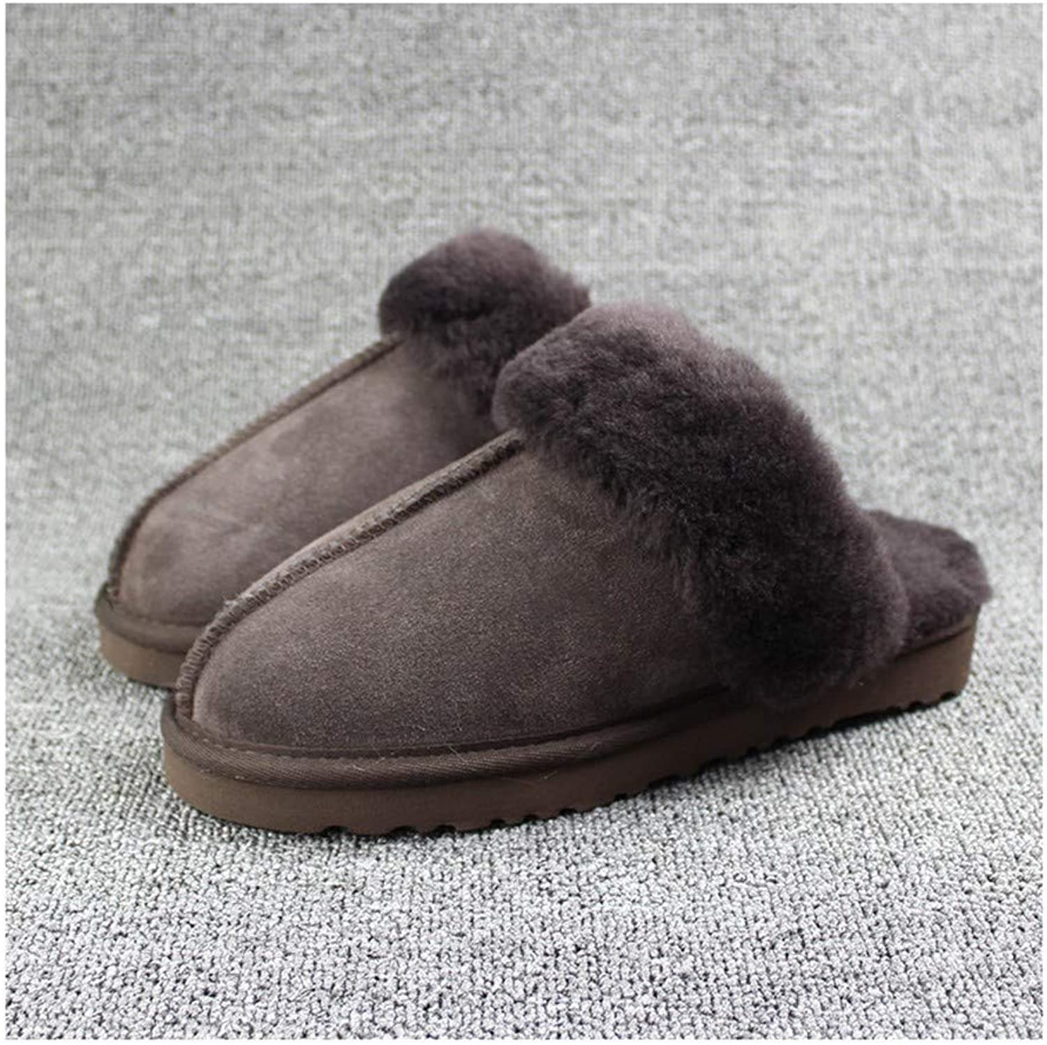 GAOHUI Men High-End Handmade Cotton Slippers Indoor Thermal Slippery Slippers Chocolate color