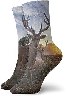 Pengyong, Pengyong - Calcetines para Hombre y Mujer con diseño de Animales de la Naturaleza, Color marrón