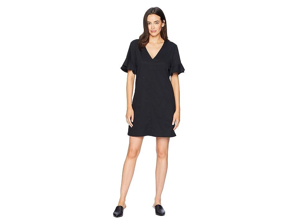 Lilla P Ruffle Sleeve Shift Dress (Black) Women
