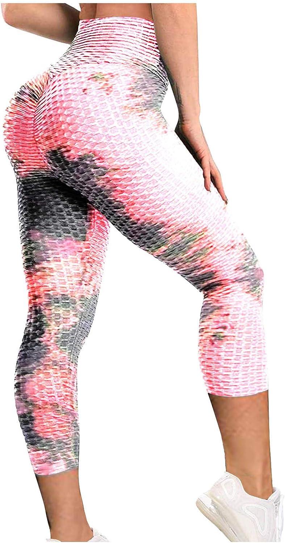 Hengshikeji Printed Yoga Pants for Women Bubble Hip Butt Lifting Anti Cellulite Workout Tummy Control Sports Gym Pants