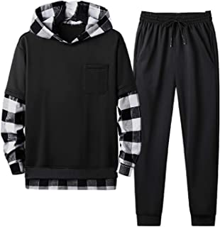 neveraway Men 2 Piece Set Sports Hoodie Plaid Drawstring Tracksuit Outfit