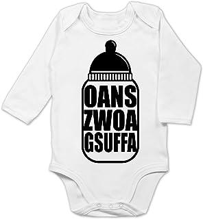 Shirtracer Oktoberfest & Wiesn Baby - Babyflasche Oans Zwoa Gsuffa schwarz - Baby Body Langarm