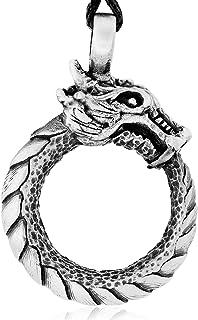 Namaste Jewelers Ouroboros `Tail Devourer` Dragon Pendant Necklace Pewter Jewelry