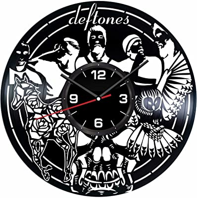 Deftones Wall Clock Made of Vintage Vinyl Records - Stylish clock and Amazing Gift Idea –