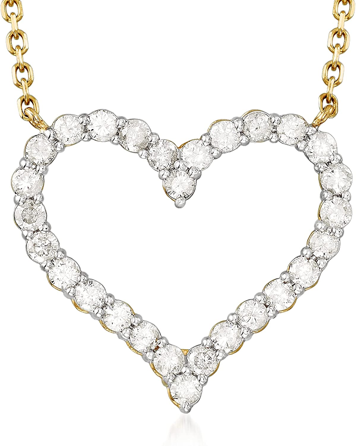 Ross-Simons 1.50 ct. Ranking TOP3 t.w. Diamond Necklace 14kt Heart Limited Special Price in Yellow