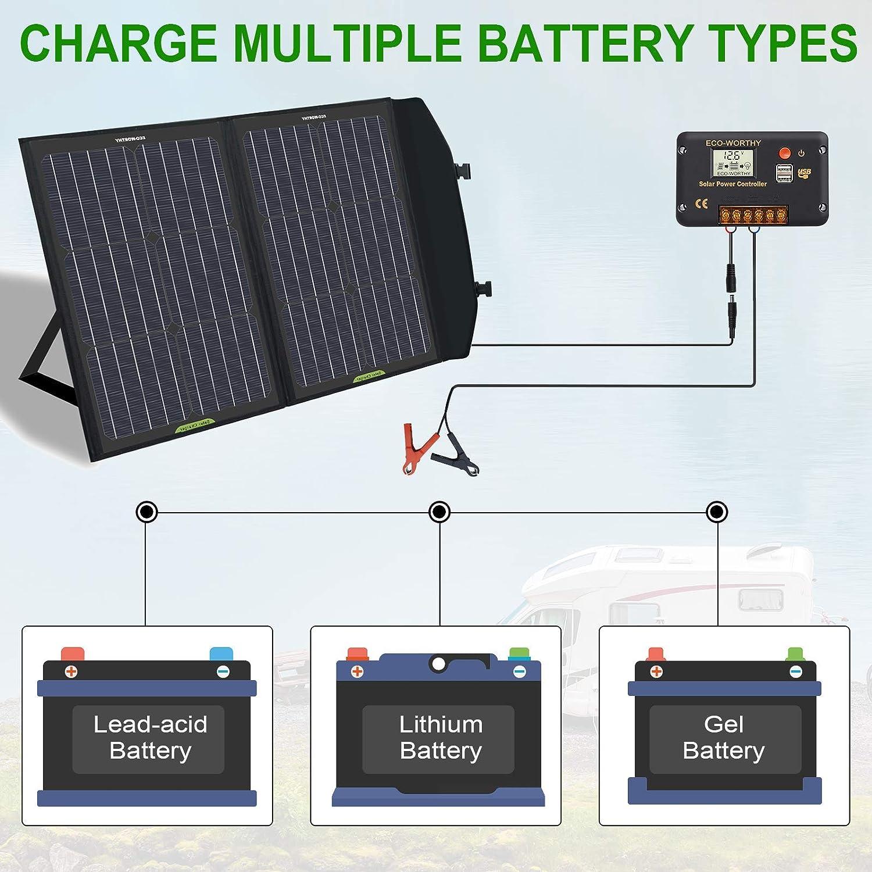 im Koffer f/ür Wohnmobile//Wohnmobile//Wandern//Tablets//Smartphones tragbares Laden f/ür den Au/ßenbereich DC-Ausgang ECO-WORTHY 60W klappbares Solarpanel mit Laderegler