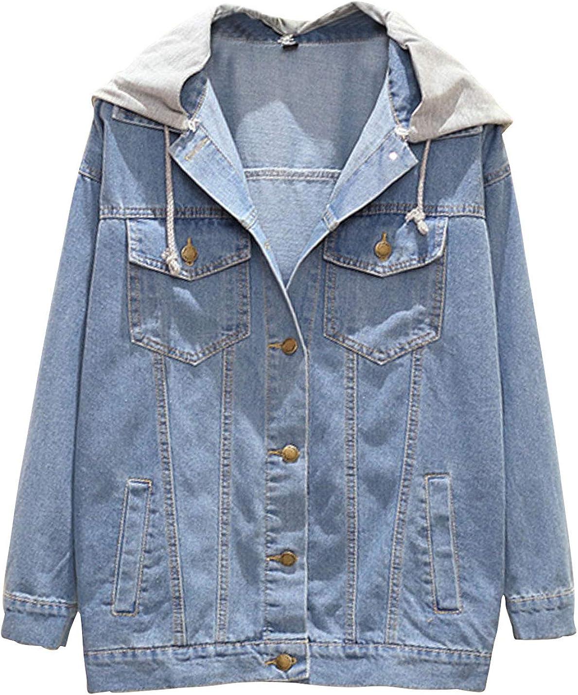 Omoone Women's Loose Washed Ripped Drawstring Hooded Denim Trucker Jean Jacket