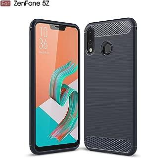 AVIDET Asus Zenfone 5 ZE620KL ケース 炭素繊維カバー 高品質TPU シリコン Zenfone5 ZE620KL ケース 保護バンパー 弾力性付き (Zenfone 5Z ZS620KL ケース ブルー)