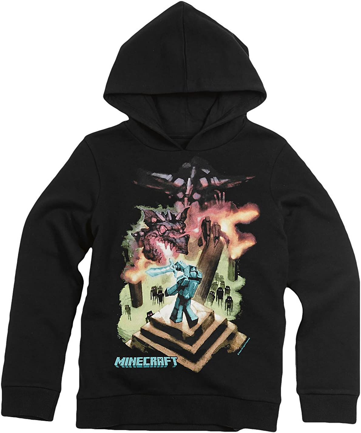 Minecraft Ender Dragon Boys Hoodie 6-20 (X-Large) Black